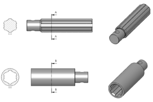 Spline shaft section